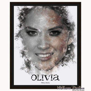 Olivia Munn Ink Smudge Style Art Print - Framed Canvas Art Print / 16x20 inch