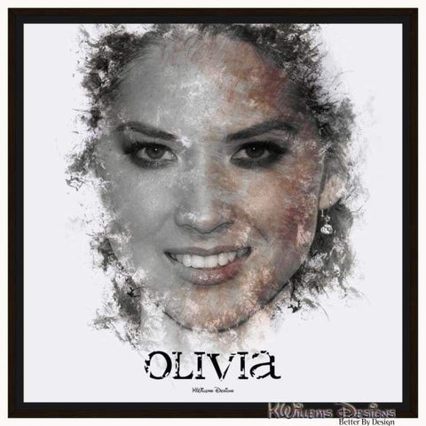 Image of Olivia Munn Ink Smudge Style Art Print - Framed Canvas Art Print / 24x24 inch