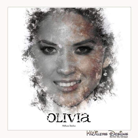 Image of Olivia Munn Ink Smudge Style Art Print - Wrapped Canvas Art Print / 24x24 inch