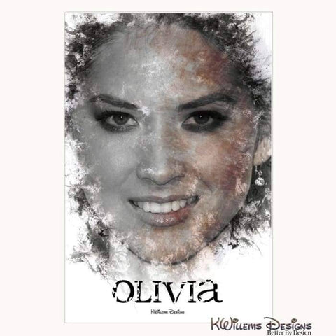 Image of Olivia Munn Ink Smudge Style Art Print - Wrapped Canvas Art Print / 24x36 inch