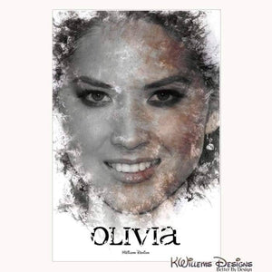Olivia Munn Ink Smudge Style Art Print - Wrapped Canvas Art Print / 24x36 inch