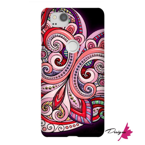 Image of Pink Floral Hearts Mandala Black Phone Cases - Google Pixel 2 / Premium Glossy Snap Case