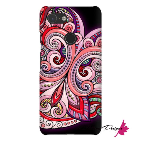 Image of Pink Floral Hearts Mandala Black Phone Cases - Google Pixel 3 / Premium Glossy Snap Case