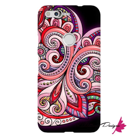 Image of Pink Floral Hearts Mandala Black Phone Cases - Google Pixel / Premium Glossy Snap Case