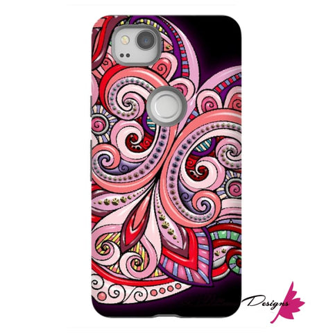 Image of Pink Floral Hearts Mandala Black Phone Cases - Google Pixel 2 / Premium Glossy Tough Case