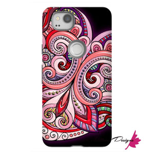 Pink Floral Hearts Mandala Black Phone Cases - Google Pixel 2 / Premium Glossy Tough Case
