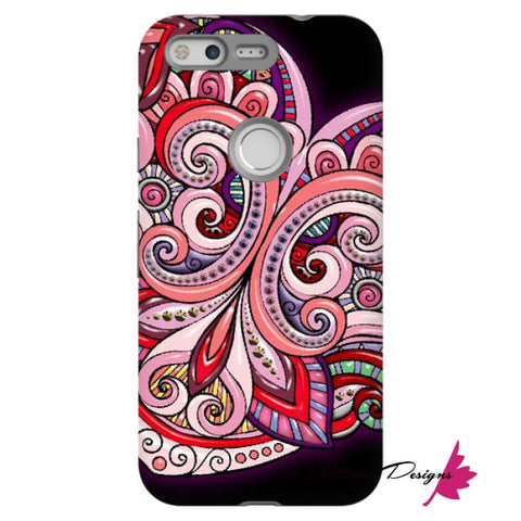 Image of Pink Floral Hearts Mandala Black Phone Cases - Google Pixel / Premium Glossy Tough Case