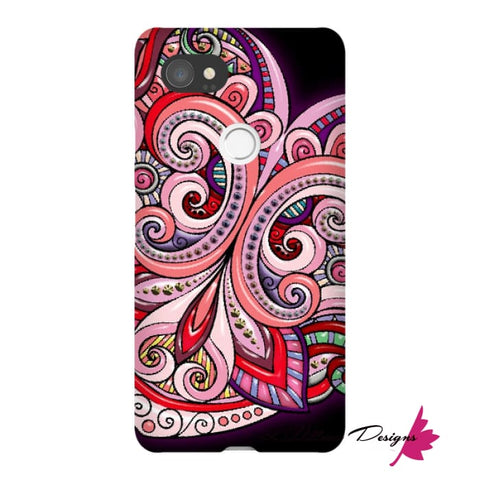 Image of Pink Floral Hearts Mandala Black Phone Cases - Google Pixel 2 XL / Premium Glossy Snap Case