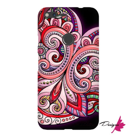 Image of Pink Floral Hearts Mandala Black Phone Cases - Google Pixel XL / Premium Glossy Snap Case