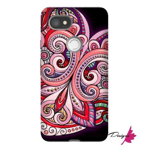 Image of Pink Floral Hearts Mandala Black Phone Cases - Google Pixel 2 XL / Premium Glossy Tough Case