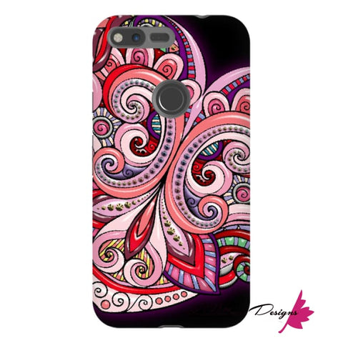 Image of Pink Floral Hearts Mandala Black Phone Cases - Google Pixel XL / Premium Glossy Tough Case