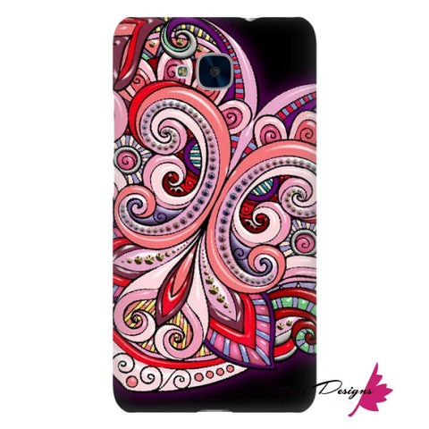 Image of Pink Floral Hearts Mandala Black Phone Cases - Huawei Honor 5C / Premium Glossy Snap Case