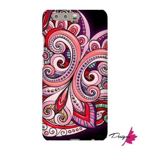 Image of Pink Floral Hearts Mandala Black Phone Cases - Huawei P10 Plus / Premium Glossy Snap Case