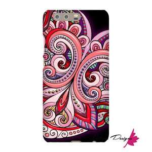 Pink Floral Hearts Mandala Black Phone Cases - Huawei P10 Plus / Premium Glossy Snap Case