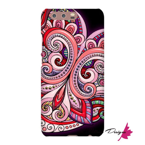 Image of Pink Floral Hearts Mandala Black Phone Cases - Huawei P10 / Premium Glossy Snap Case