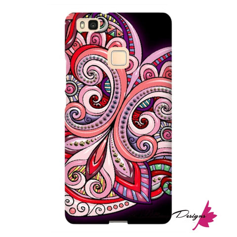 Image of Pink Floral Hearts Mandala Black Phone Cases - Huawei P9 Lite / Premium Glossy Snap Case