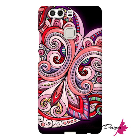 Image of Pink Floral Hearts Mandala Black Phone Cases - Huawei P9 / Premium Glossy Snap Case