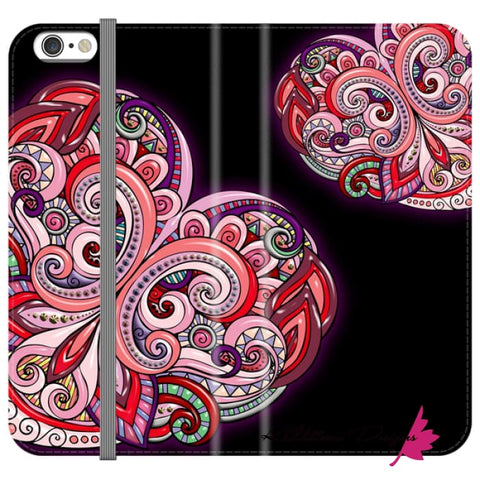 Image of Pink Floral Hearts Mandala Black Phone Cases - iPhone 6s / Premium Folio Wallet Satin Case