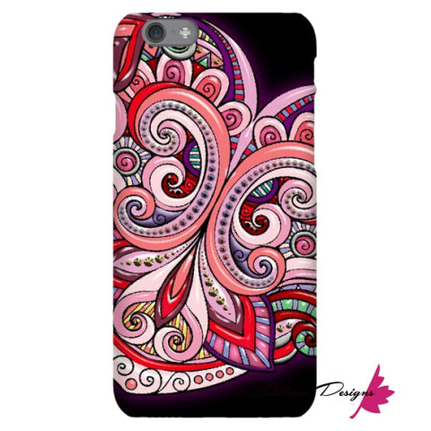 Image of Pink Floral Hearts Mandala Black Phone Cases - iPhone 6s / Premium Glossy Snap Case