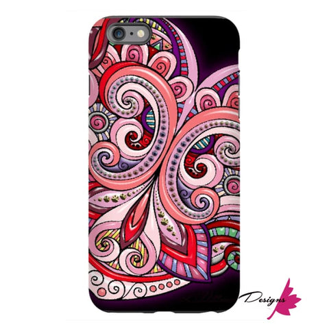 Image of Pink Floral Hearts Mandala Black Phone Cases - iPhone 6s Plus / Premium Glossy Tough Case