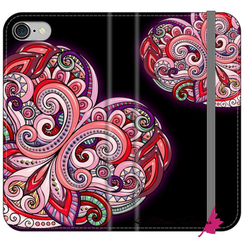 Image of Pink Floral Hearts Mandala Black Phone Cases - iPhone 7 / Premium Folio Wallet Satin Case