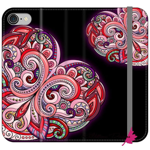 Image of Pink Floral Hearts Mandala Black Phone Cases - iPhone 8 / Premium Folio Wallet Satin Case