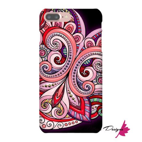 Image of Pink Floral Hearts Mandala Black Phone Cases - iPhone 7 Plus / Premium Glossy Snap Case