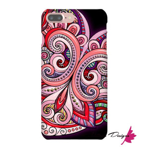 Pink Floral Hearts Mandala Black Phone Cases - iPhone 7 Plus / Premium Glossy Snap Case