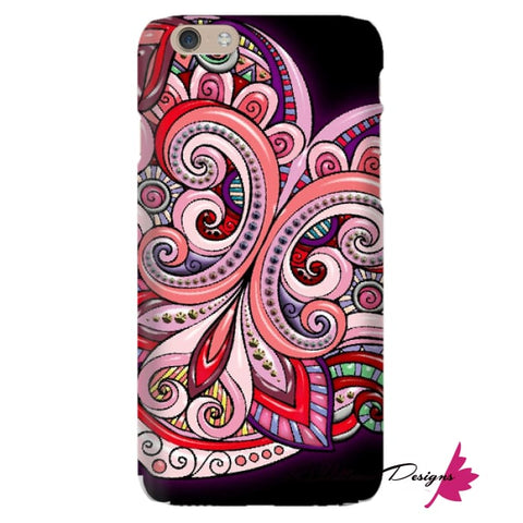 Image of Pink Floral Hearts Mandala Black Phone Cases - iPhone 6 / Premium Glossy Snap Case