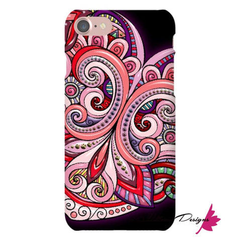 Image of Pink Floral Hearts Mandala Black Phone Cases - iPhone 7 / Premium Glossy Snap Case