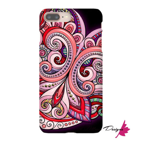 Image of Pink Floral Hearts Mandala Black Phone Cases - iPhone 8 Plus / Premium Glossy Snap Case