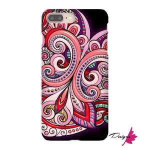Pink Floral Hearts Mandala Black Phone Cases - iPhone 8 Plus / Premium Glossy Snap Case