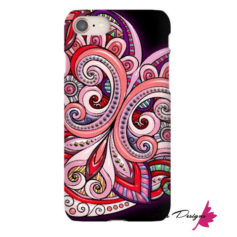 Image of Pink Floral Hearts Mandala Black Phone Cases - iPhone 8 / Premium Glossy Snap Case