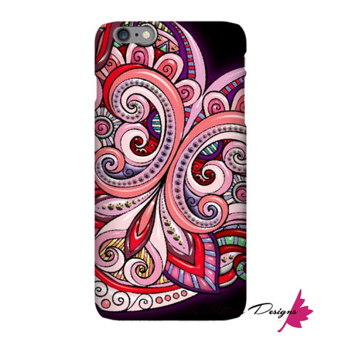 Image of Pink Floral Hearts Mandala Black Phone Cases - iPhone 6 Plus / Premium Glossy Snap Case