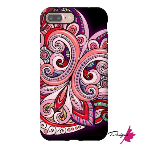 Image of Pink Floral Hearts Mandala Black Phone Cases - iPhone 7 Plus / Premium Glossy Tough Case