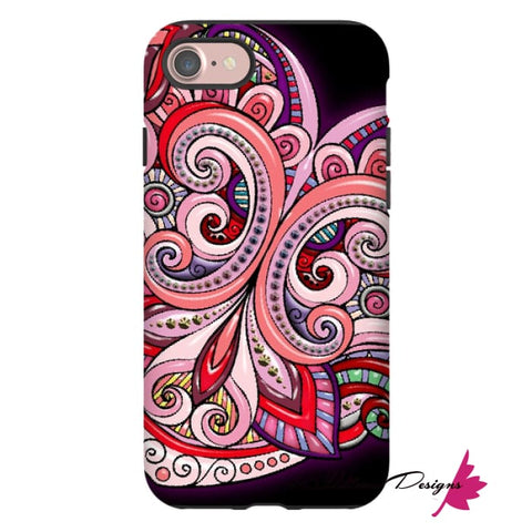 Image of Pink Floral Hearts Mandala Black Phone Cases - iPhone 7 / Premium Glossy Tough Case