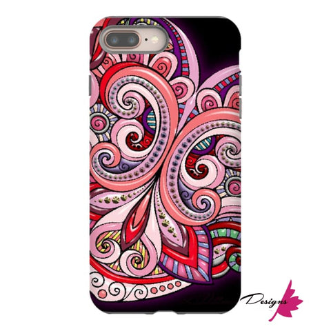 Image of Pink Floral Hearts Mandala Black Phone Cases - iPhone 8 Plus / Premium Glossy Tough Case