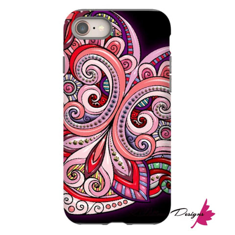 Image of Pink Floral Hearts Mandala Black Phone Cases - iPhone 8 / Premium Glossy Tough Case