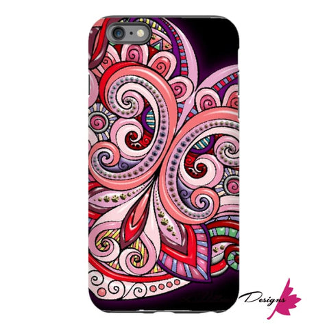 Image of Pink Floral Hearts Mandala Black Phone Cases - iPhone 6 Plus / Premium Glossy Tough Case