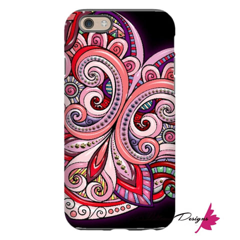 Image of Pink Floral Hearts Mandala Black Phone Cases - iPhone 6 / Premium Glossy Tough Case