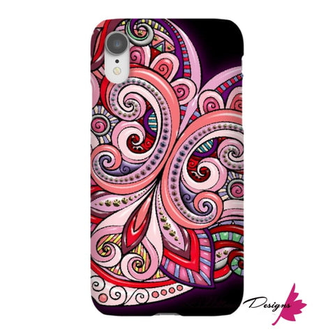 Image of Pink Floral Hearts Mandala Black Phone Cases - iPhone XR / Premium Glossy Snap Case