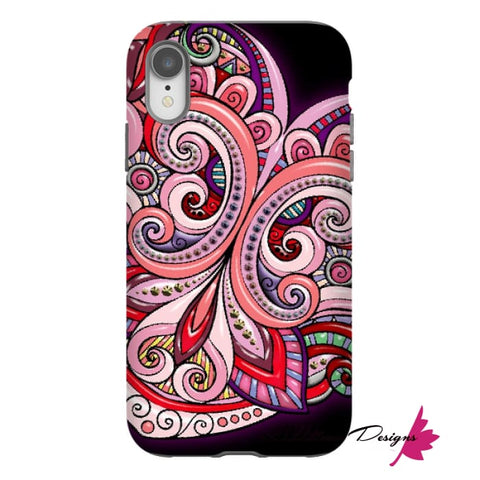 Image of Pink Floral Hearts Mandala Black Phone Cases - iPhone XR / Premium Glossy Tough Case