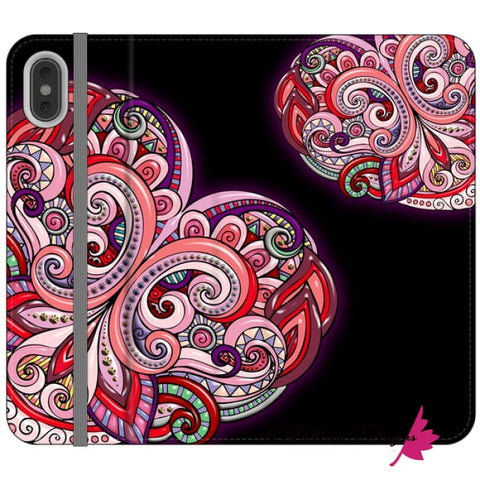 Image of Pink Floral Hearts Mandala Black Phone Cases - iPhone XS Max / Premium Folio Wallet Satin Case