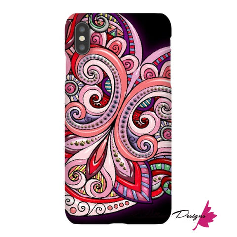 Image of Pink Floral Hearts Mandala Black Phone Cases - iPhone XS Max / Premium Glossy Snap Case