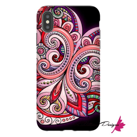 Image of Pink Floral Hearts Mandala Black Phone Cases - iPhone XS Max / Premium Glossy Tough Case
