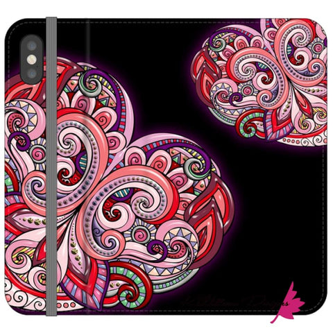 Image of Pink Floral Hearts Mandala Black Phone Cases - iPhone XS / Premium Folio Wallet Satin Case
