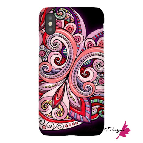 Image of Pink Floral Hearts Mandala Black Phone Cases - iPhone XS / Premium Glossy Snap Case