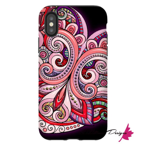 Image of Pink Floral Hearts Mandala Black Phone Cases - iPhone XS / Premium Glossy Tough Case