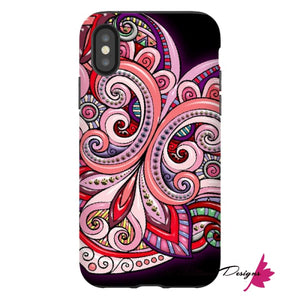 Pink Floral Hearts Mandala Black Phone Cases - iPhone XS / Premium Glossy Tough Case