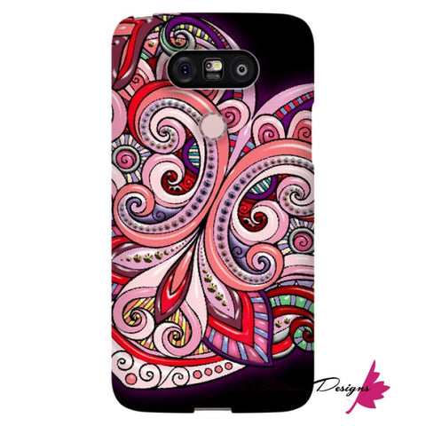 Image of Pink Floral Hearts Mandala Black Phone Cases - LG G5 / Premium Glossy Snap Case